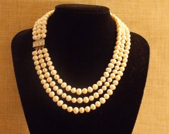 Triple strand Freshwater Pearl Necklace in natural colour