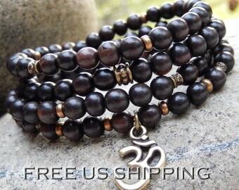 Ebony Wood Mala, Yoga Bracelet, Meditation Necklace, 108 Prayer Beads, OM, Hamsa, Tree of Life, Angel Wing, Buddhist Rosary, Reiki infused