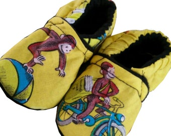 Curious George Holiday Christmas Handmade Baby Girl's Boy's Shoes Slippers Booties Choose Size 0 - 24 M 3T - 5T  Baby Shower Gift