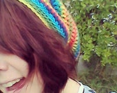 Rainbow Slouch Beanie, adult unisex winter accessory, colourful  handmade crochet hat