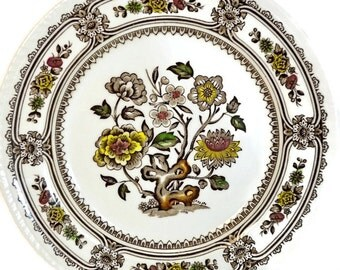 Wood and Sons Small Plates, Dessert Plates or Salad Plates - 2 Brown Transferware Polychrome 'Dorset' Mid Century China, Decorative Plates
