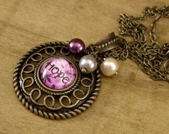 Hope Necklace, Vintage Style Necklace, Bronze, Pearl Drop, Filigree Pendant, Victorian, Purple Floral Necklace, Flower, Inspirational, Round
