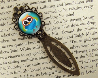 Owl Bookmark, Blue Bookmark, Gift for Owl Lover, Bronze Bookmark, Book Lover, Book Accessories, Ready Ship, Clip Bookmark, Owl Gift