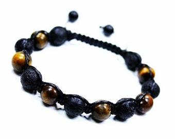 Black Lava Rock Bracelet, Lava Rock Bracelet, Lava Shamballa Mens, Tiger Gemstones, Mens Tiger Eye Bracelet, Mens Lava Jewelry Shamballa