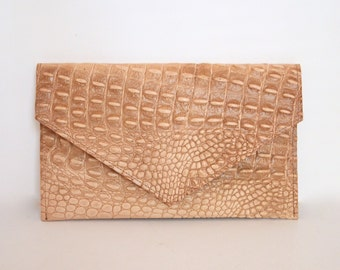 Crocodile Print Leather Clutch in Tan, Leather Clutch, Natural Leather Clutch