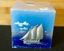 Cube Candle; Hand Crafted; Nova Scotia; Approx. 3.5 x 3.5 x 3.5 in. Metal Ornament !!!