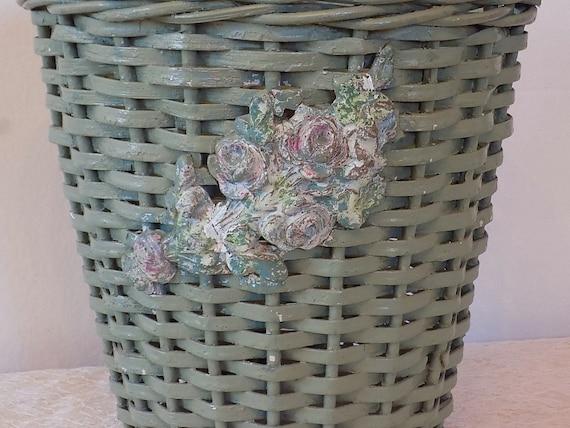 Items similar to antique barbola green waste basket w pink roses vintage cottage shabby - Shabby chic wastebasket ...