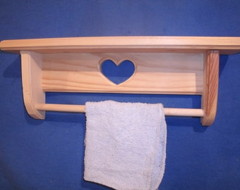 "towel rack, wooden towel rack,bathroom towel rack, wooden wall shelf unfinished pine  16""  with heart, unfinished shelf, Wall decor"