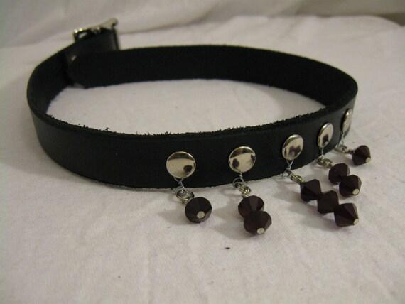 Jeweled Leather Choker/Collar