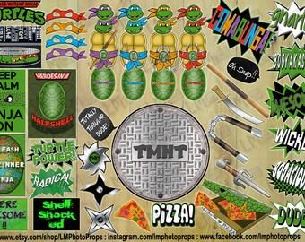 Teenage Mutant Ninja Turtles Photo Booth Props - TMNT Party, tmnt photo props, tmnt Photobooth props, tmnt party INSTANT DOWNLOAD  Printable