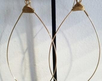 Roxann hoops. XL Brass Hoops. Teardrop hoops. Brass earrings. wire wrapped brass earrings. wire wrapped brass hoops.