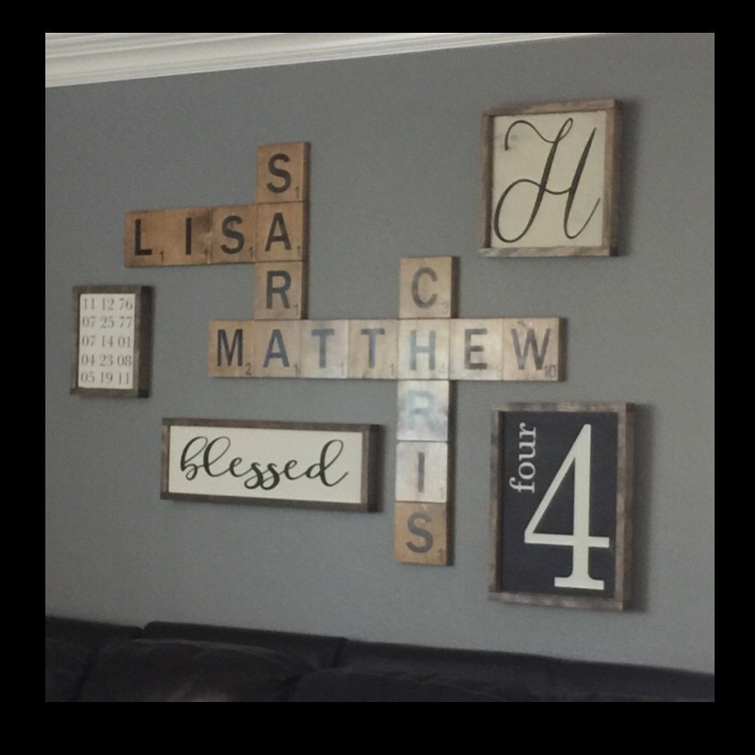 scrabble wall art display family names in a by traylormadedesigns. Black Bedroom Furniture Sets. Home Design Ideas