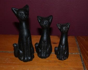 Darling Trio Of Clay Black Cats