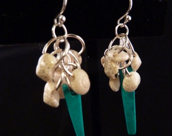 Teal Bamboo and Shell Cluster Earrings