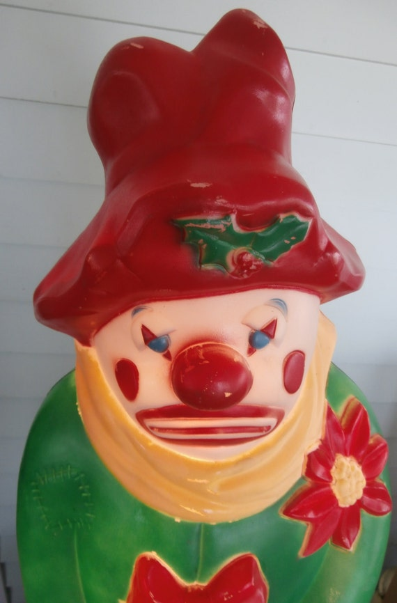 vintage christmas blow mold snowman hobo clown green coat. Black Bedroom Furniture Sets. Home Design Ideas