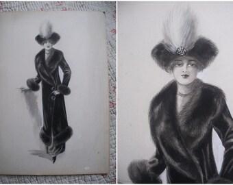 Original fashion drawing, Edwardian lady