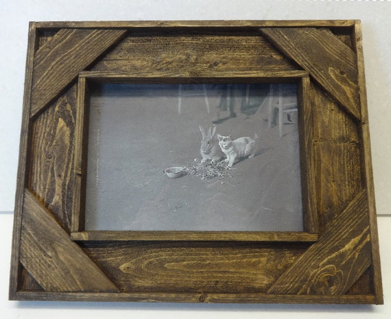 Rustic Home Decor Picture Frame In Brown Barn Wood Style