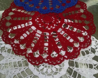 "Whimsical crocheted doily 24"", wedding decor"
