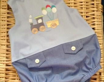 Little baby boy romper - New Baby Romper - Romper UK - Baby Romper - Train Romper - Boys Outfit - Custom Baby Boys Romper Outfit