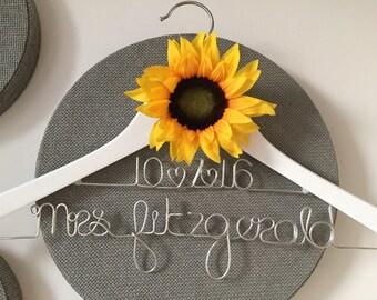 Personalised Bridal Hanger - Wedding Hanger - with Sunflower - 2 Rows & 1 Sunflower