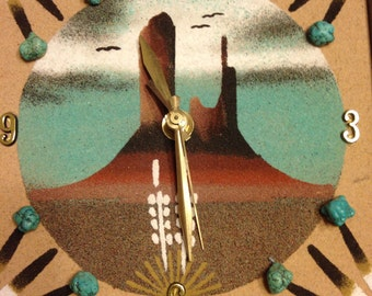 Sand panting, Monument Valley, clock