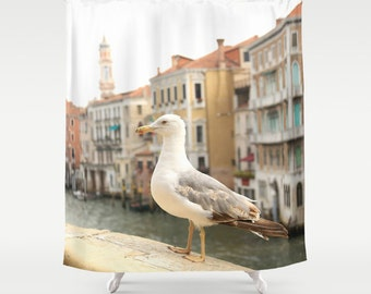 Shower Curtain - Venice Seagull - Grand Canal Venice Italy - Italy Shower Curtain - Photo Shower Curtain - Italy - Gifts for Her - Gift Idea