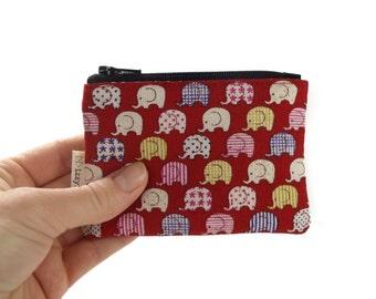 Kawaii Coin Purse - Elephants - Zipper Coin Pouch - Cute Coin Purse - Change Wallet - Zipper Bag - Red - Card Wallet