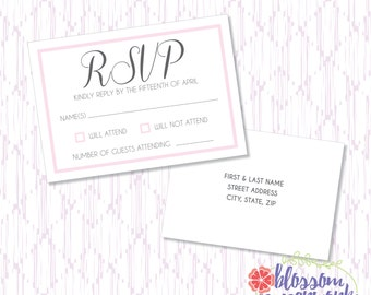 Pink & Gary - Printable Wedding RSVP Postcard