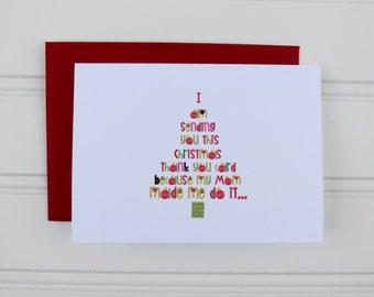 Christmas Thank You Card, Christmas Gift Thank you Card, Funny Christmas Card, Cute Card, Holiday Card, Custom Card, Holiday Thank You Card