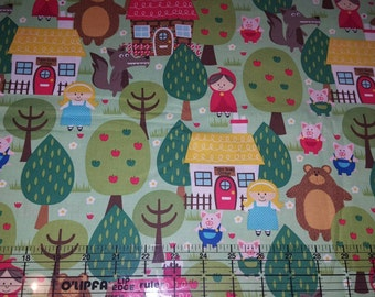 """Michael Miller into the forest, red riding hood cotton woven quilt weight fabric 35"""""""