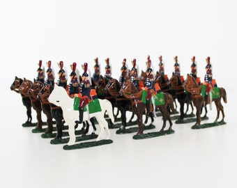 15 pcs Antique Tin Soldiers Lead Soldiers Napoleonic Wars French Cavalry Cuirassier Regiment