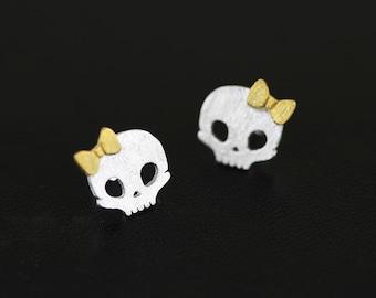 Skull Earring Studs 925 Sterling Silver