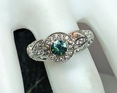 Blue-Green Sapphire Engagement Ring in Sterling Silver Diamond Halo Ring with Natural Gemstone / Free Shipping / De Luna Gems