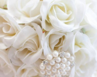 Silk rose and brooch bridal bouquet with FREE grooms buttonhole