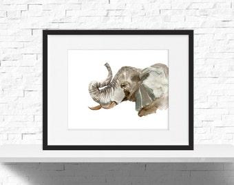 Elephant Head Print - Minimal Animal Print - Safari Animal Print - Elephant Print - Elephant Head - Elephant Art - Download, PRINTABLE 10x8
