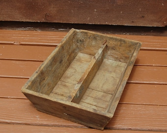 Antique Rustic Wooden Divided Box, Vintage Wood Cutlery Box, Old Knife Box, Silverware Tray