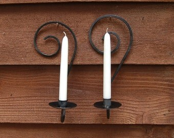 Pair of Wrought Iron Candle Sconces, Vintage Wall Sconces, Curled Iron Candle Holders