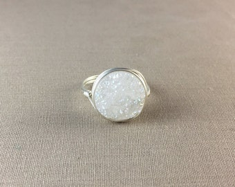 White Druzy Ring // large druzy ring, round druzy ring, wire wrapped ring, rose gold ring, sterling silver ring, gold ring, drusy ring