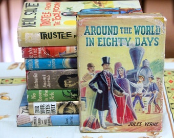 "A striking 1960s Deans Classic Series of ""Around the World In 80 Days"" by Jules Verne"