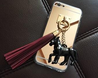 Wine leather tassel case phone case iPhone5 iPhone6 iPhone6 plus iPhone6s iPhone 6s Plus Tassel case