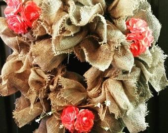 Vintage Shabby Burlap Wreath