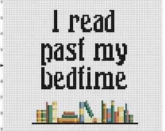 I read past my bedtime - Library Cross Stitch Pattern - Instant Download