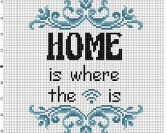 Home is where the wifi is - Cross Stitch Pattern - Instant Download