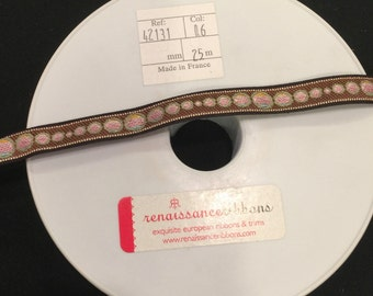"Beautiful woven ribbon trim from Renaissance Ribbons - brown, pink and green circular pattern - 1/2"" wide - 3 yards"