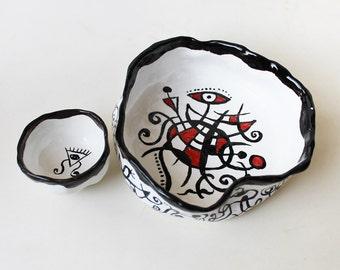 Ceramic abstract bowls set, handpainted bowl Miro inspired, handmade pottery serving bowls