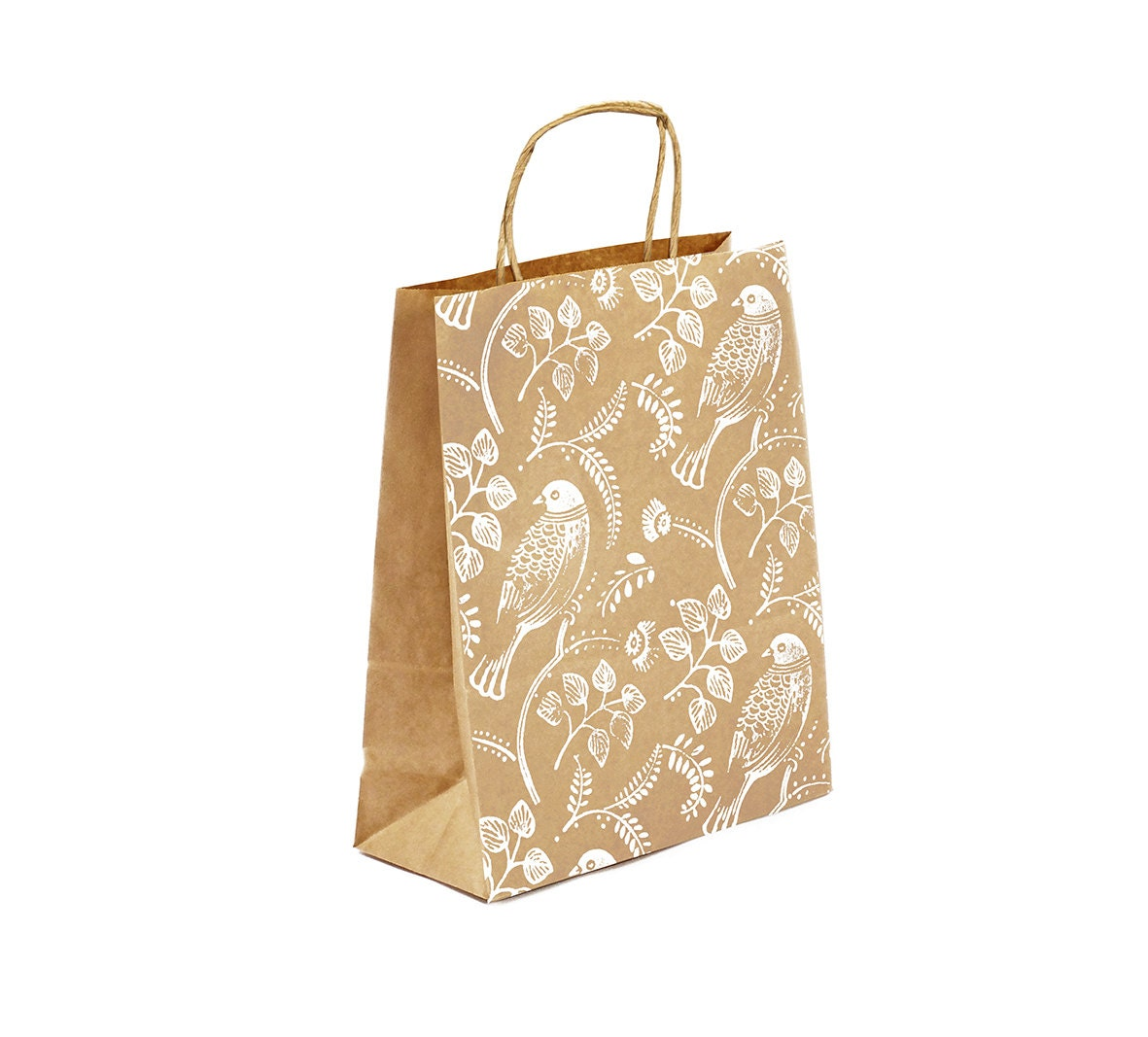 Gift bag set medium kraft with handprinted love