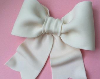 Cake decoration white bow gum paste fondant for birthday cake