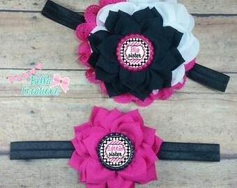 Sister headband set, matching sister bows, Sister headbands, pink sister bow, little sister, big sis headband, little sis bow, Sister bows