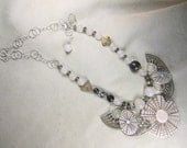 "KSDesigns - ""Spiraling into the Light"" sterling necklace w shell, smoky quartz, glass, agate, mother of pearl, jasper"