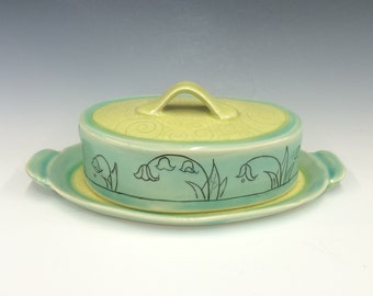 Handmade Butter Dish with lily-of-the-valley Deco. In Aqua and Lime. MA167